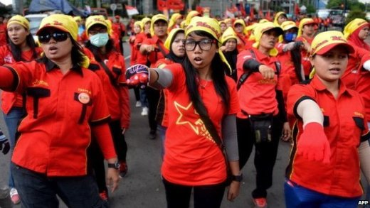Women marching the streets of the Indonesian capital Jakarta on International Women's Day, 8 March 2015