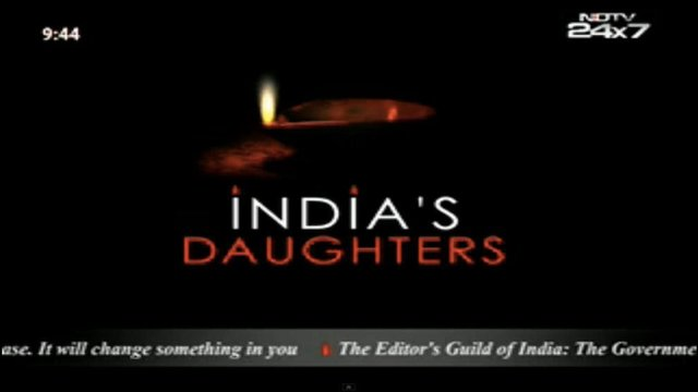 Screen grab from NDTV of a slate featuring India's Daughter titles