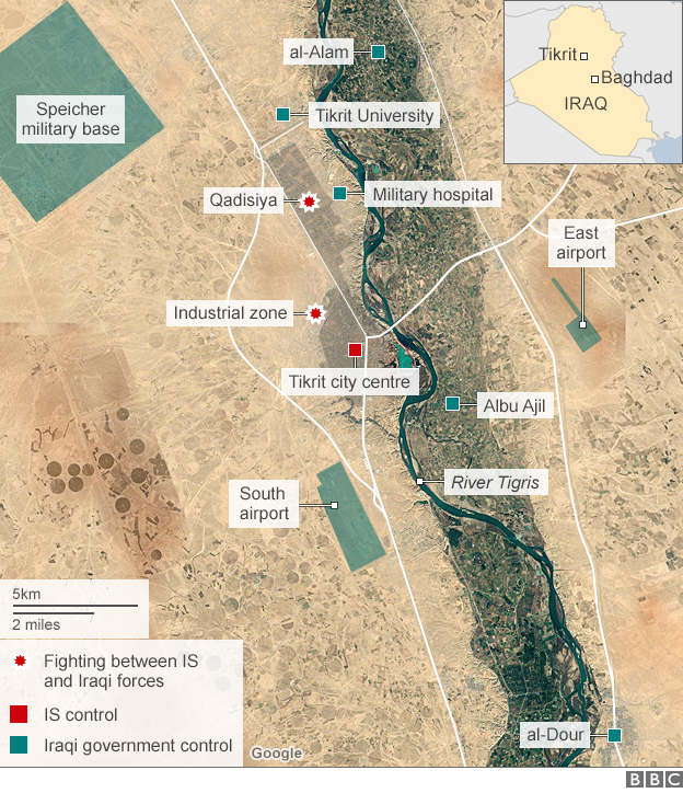 Map showing Iraqi government operation to retake Tikrit (11 March 2015)