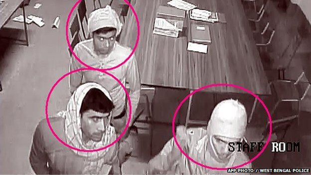 CCTV footage of three men in the Convent of Jesus and Mary in Ranaghat 15 Marchg 2015