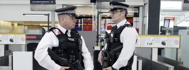 Armed police at airport