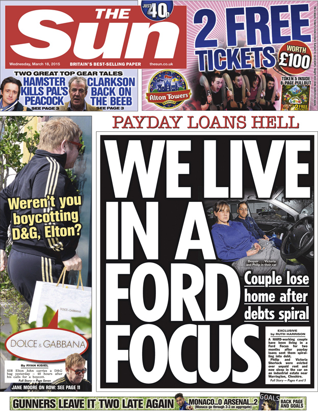 The Sun front page, 18/3/15
