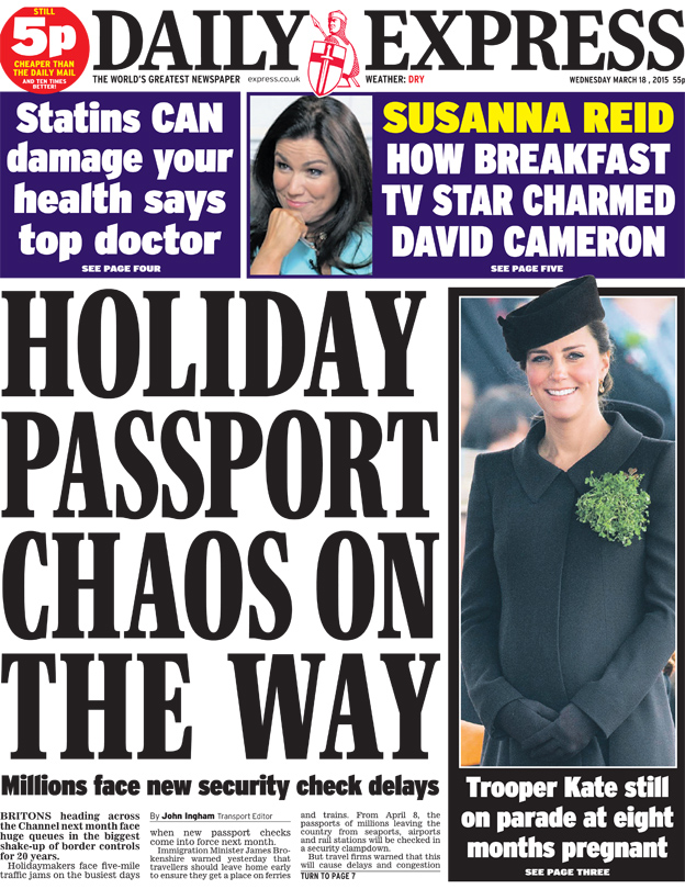 Daily Express front page, 18/3/15