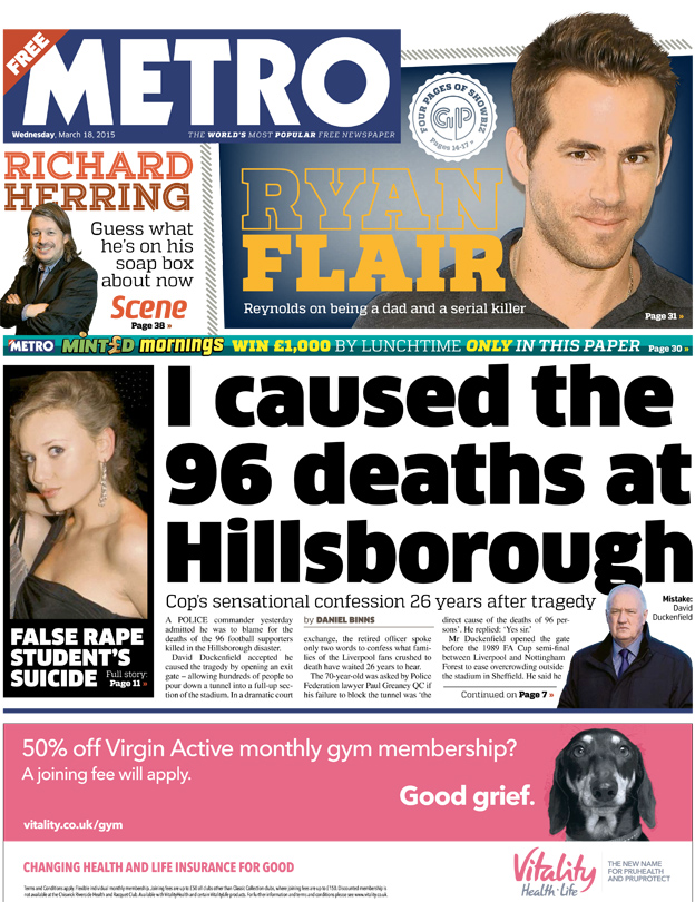 Metro front page, 18/3/15