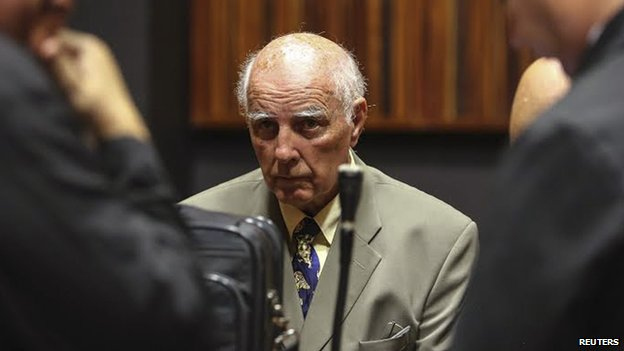 Bob Hewitt looks on ahead of court proceedings at the South Gauteng High Court in Johannesburg on 9 February, 2015