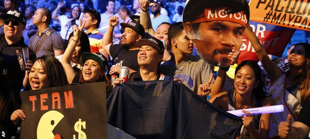 Manny Pacquiao fans cheer on their man at the weigh-in