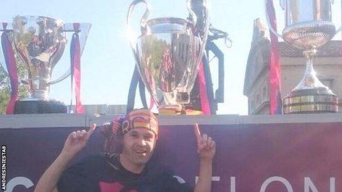 Andres Iniesta Instagram Barca treble