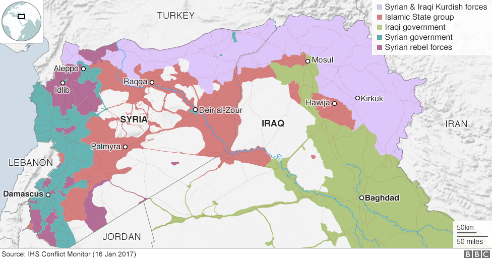 Image result for map of syria islamic state control 2017