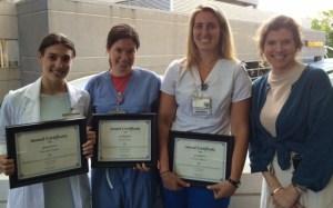 Pictured from left are undergraduate nursing students Gabrielle Pappas, Sarah Steele, Jennifer Bognar and Dr. Leslie Folds, associate professor of nursing.