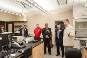 CSM Dean Dr. Thom Spence leads a tour of a Wedgewood Academic Center lab.