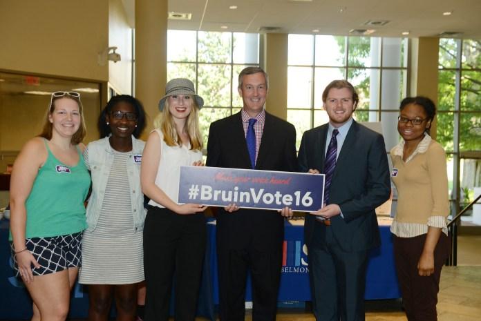 Tennessee Secretary of State Tre Hargett speaks in the Beaman Student Life center at Belmont University in Nashville, Tenn. September 7, 2016