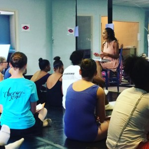 Shack speaking to ballet students