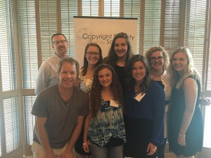 Murray and Holko with other scholarship winners and members of the Copyright Society of the South scholarship committee