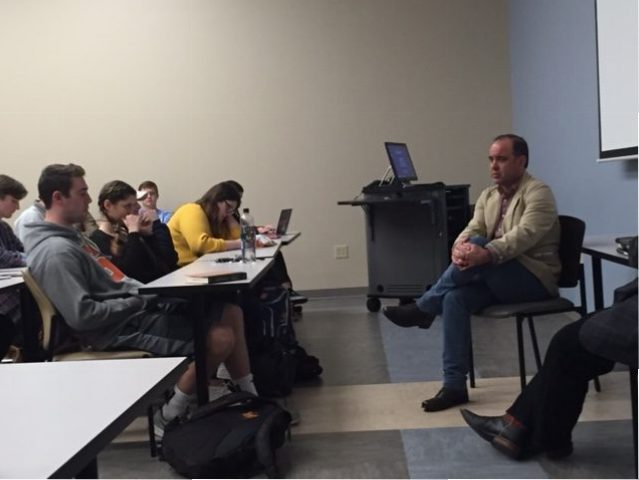 Rodney Hall speaks to Curb College Students