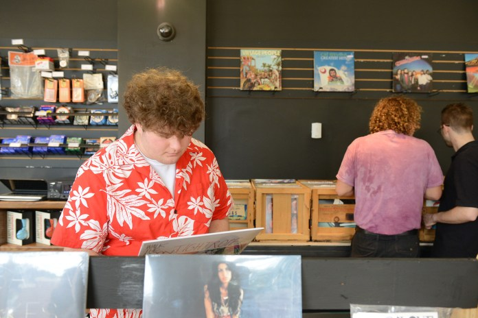 Students shop for vinyl at Boulevard Record Shop
