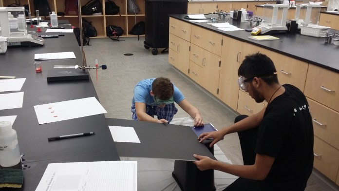 Students complete a fictional forensics lab with blood stain splatters as part of a linked cohort course.