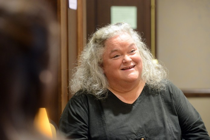 Dr. Judy Skeen speaks at the Politics of the Human Spirit convocation at Belmont University in Nashville, Tenn. October 17, 2016.