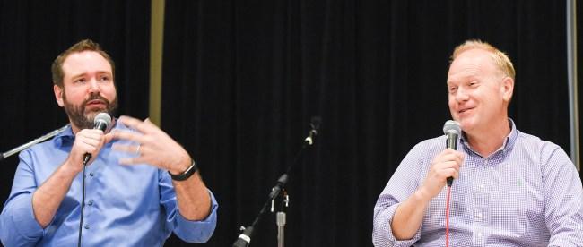 Troy Tomlinson and Josh Van Valkenburg speak to students at Columbia Studio A at Belmont University in Nashville, Tenn. September 13, 2017.