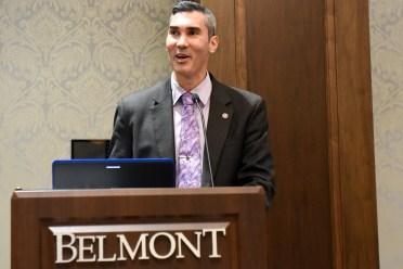 David Plazas of The Tennessean speaks during Humanities Symposium at Belmont University in Nashville, Tenn. September 19, 2017.