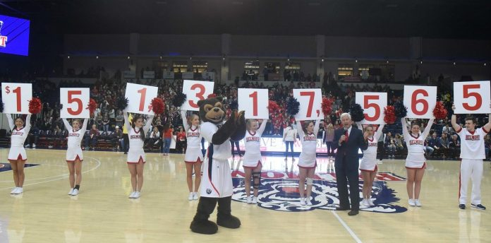 Belmont President Dr. Bob Fisher announces We Believe campaign has reached the halfway mark. Nov. 27, 2017
