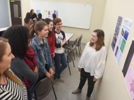 Global Leadership Studies classes present posters.