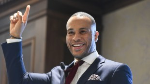 DeVon Franklin speaks at MLK Breakfast at Belmont University in Nashville, Tennessee, January 12, 2018.