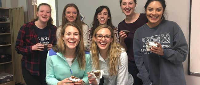 Students participate in a Women in Science Baking Event held on Belmont's campus.