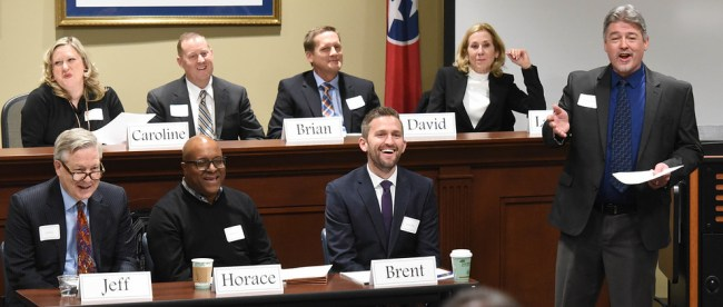 Law panel discussion at Belmont University in Nashville, Tennessee, February 2, 2018.
