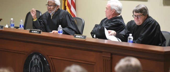 The Tennessee Court of Appeals is holding court in the Baskin Center at Belmont University Nashville, Tennessee, February 13, 2018.
