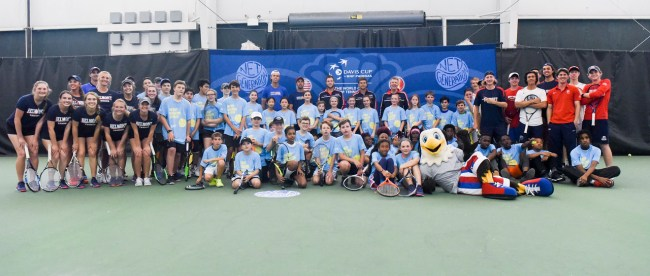 The Men's Davis Cup Team with a Net Generation kids' clinic with 40-60 local youth at Centennial Sportsplex in Nashville, Tennessee, April 3, 2018.