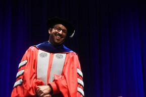 Dr. Edgar Diaz-Cruz, smiling in his regalia