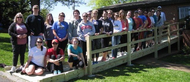 PT students stand on a recently constructed ramp