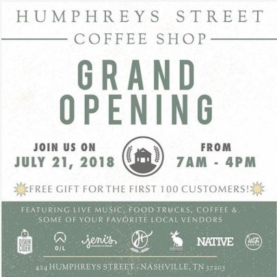 Grand Opening Poster for Humphreys Street Coffee