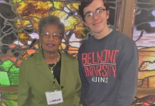 Sam Bartholomew is pictured with Emily Jackson, a fellow Disciple of Merit award recipient.