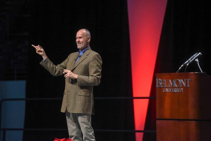 Chip Conley speaking at Fall Leadership Breakfast 2018