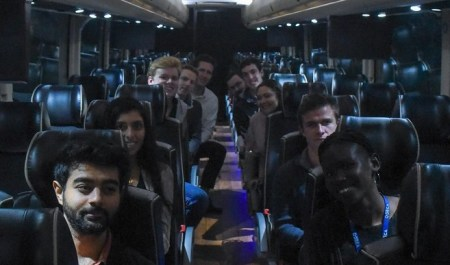 Students on a bus going to the Amazon event at the Ryman