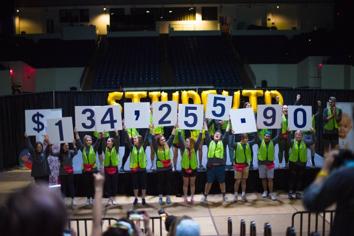 Belmont University Up 'til Dawn showing how much money they raised.