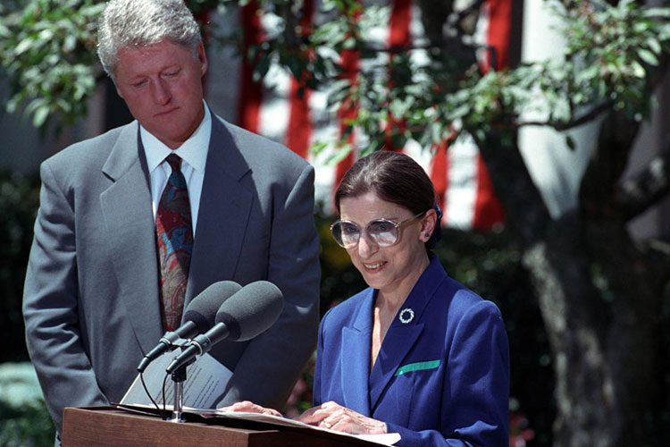 Ruth Bader Ginsburg, right, accepts her nomination to the United States Supreme Court while President Bill Clinton looks on.