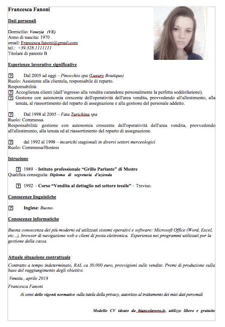 Modelli Curriculum Vitae Con Esempi Da Compilare Bianco Lavoro