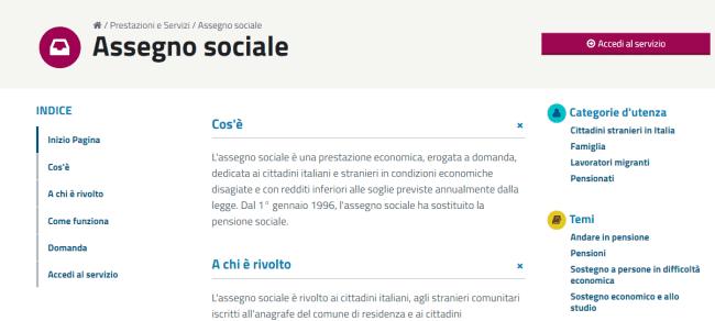 assegno sociale 2018