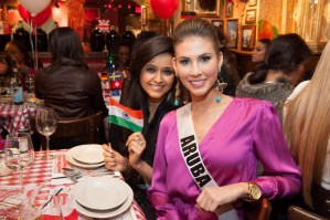 Shilpa Singh, Miss India 2012; and Liza Helder, Miss Aruba 2012 at Miss Universe 2012