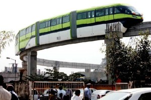 Mumbai Monorail Car plying on an Overhead Route