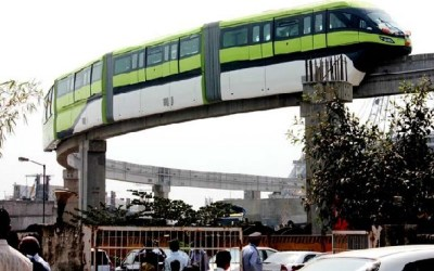 Mumbai Monorail Car plying on an Overhead Route