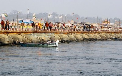 Pontoon Bridge on Ganga River at Allahabad