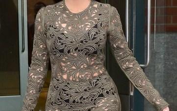 Kim Kardashian in See through Dress with Black Lingerie