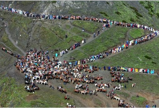 Pilgrims on Baltal Route of Amarnath Yatra