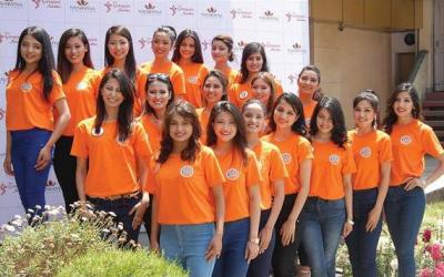 Miss Nepal Contestants posing for a Group Photoshoot