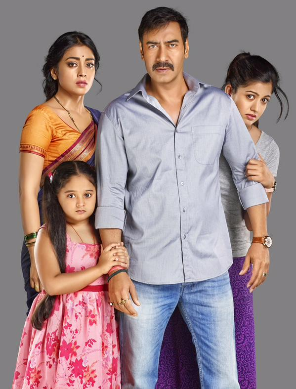 Ajay Devgn and Shriya Saran with their daughters in first look of Drishyam