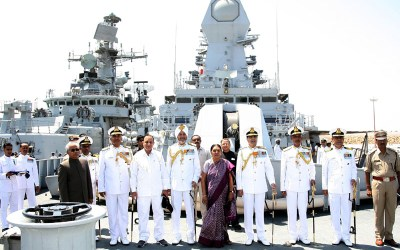 INS Sardar Patel Commissioning Ceremony. The Chief Minister of Gujarat, Anandiben Patel onboard INS Kolkata, during the commissioning ceremony of INS Sardar Patel, in Gujarat on May 09, 2015. The Chief of Naval Staff, Admiral R.K. Dhowan and other dignitaries are also seen.