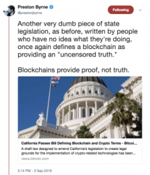 Lawmakers Have Defined Blockchain – Badly